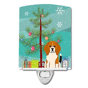 Merry Christmas Tree Beagle Tricolor Ceramic Night Light