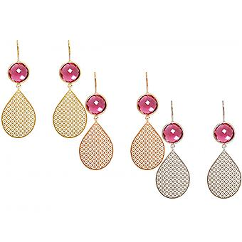 GEMSHINE ladies earrings with Mandalas and berries red gems. Earrings. Made in Madrid, Spain. Delivered in an elegant gift case.