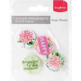 ScrapBerry's Words Live Forever Embellishments 4/Pkg-No. 3 Happy SCB1094