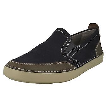 Mens Clarks Casual Slip On scarpe Gosler Race - camoscio blu - misura UK 10,5 G - EU Taglia 45 - US dimensioni 11,5 M