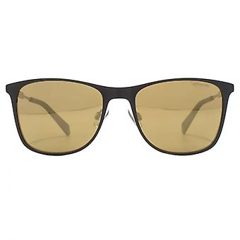 Polaroid Retro Sunglasses In Black Gold Mirror Polarised