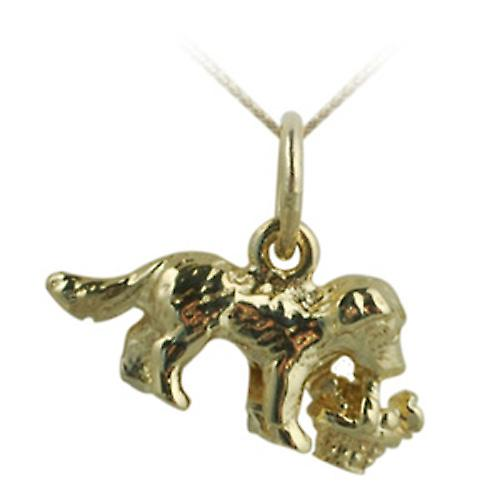 9ct Gold 8x16mm Puppy carrying basket of flowers Pendant with a curb Chain 16 inches Only Suitable for Children