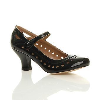 Ajvani las mujeres mediados gatito talón mary jane correa trabajan clásico vintage corte bombas de zapatos de corte corazón