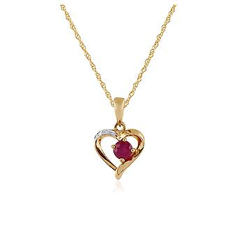 9ct Yellow Gold 0.30ct Ruby & Diamond Heart Pendant on Chain