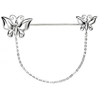 Beginnings Double Butterfly with Chain Brooch - Silver