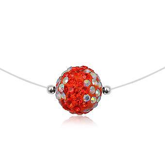Collier Nylon Invisible Perle en Cristal Rouge et Argent 925