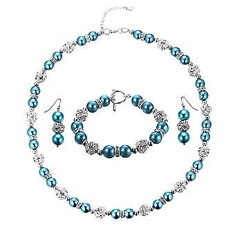 Parure necklace, Bracelet and earrings beads blue, Crystal, and Rhodium plate