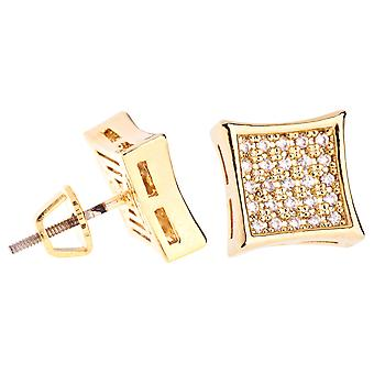 Iced out bling micro pave earrings - K-KITE 10 mm gold