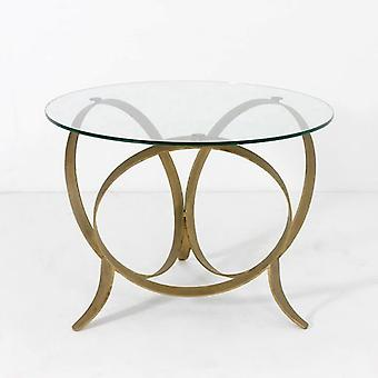Wellindal Glass and Metal Auxiliary Table Gold (Furniture , Living Room , Side tables)
