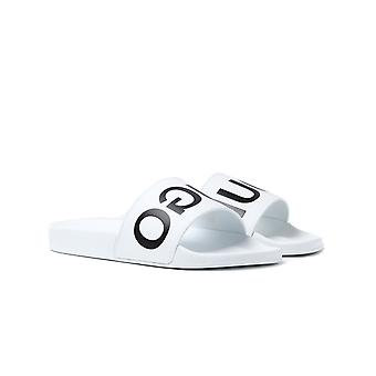HUGO Timeout White Leather Slide Sandals