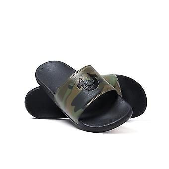 True Religion Camo & Black Pool Slides with Woven Carry Bag