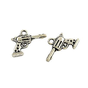 Packet 15 x Antique Silver Tibetan 20mm Gun Charm/Pendant ZX14570