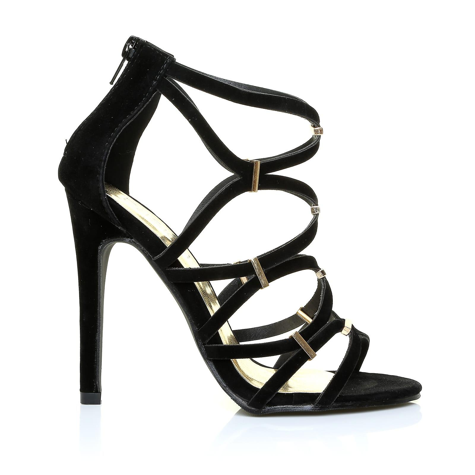 LEZ Black Faux Suede  Caged High Heel Stiletto Prom Party Shoes