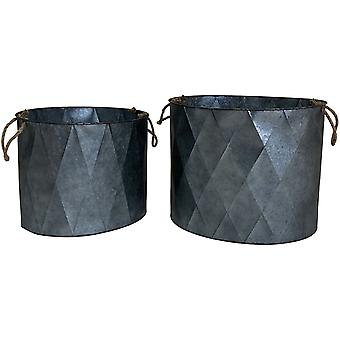 Charles Bentley Aged Zinc Effect Planters (Set of 2)
