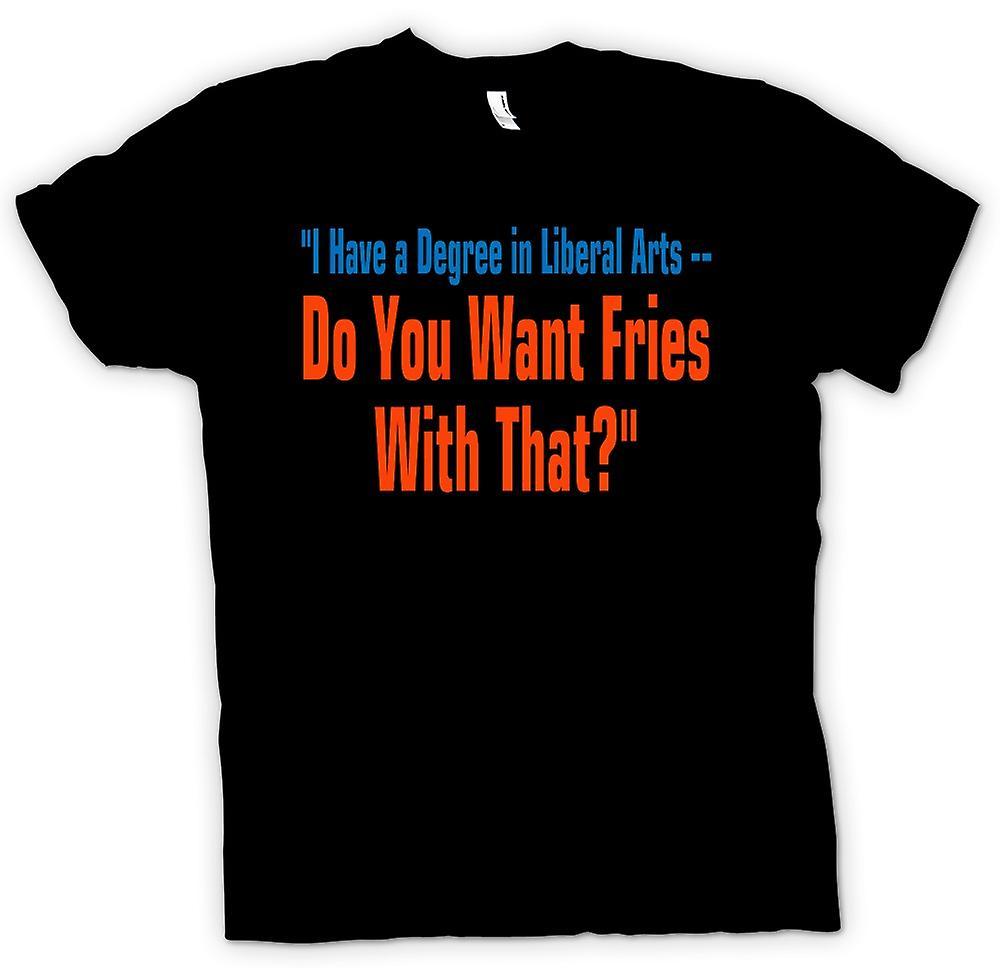 Heren T-shirt - diploma Vrije Kunsten - wilt u friet met dat citaat
