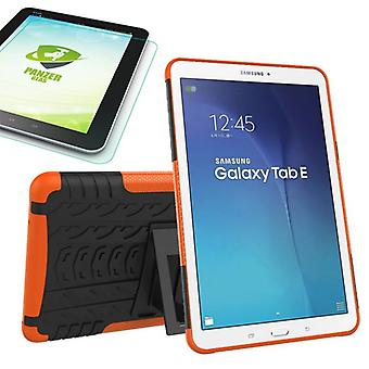 Hybrid utendørs Bag oransje for Samsung Galaxy tab E 9.6 SM T560 + 0,4 herdet glass