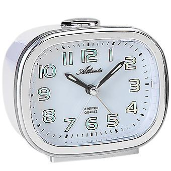 Atlanta 1922/0 clock quartz analog silver quietly without ticking with light Snooze