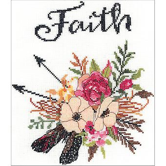 Watercolor Flowers Faith Counted Cross Stitch Kit-10