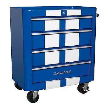 Sealey Ap28204Bws Rollcab 4 Drawer Retro Style- Blue With White Stripes