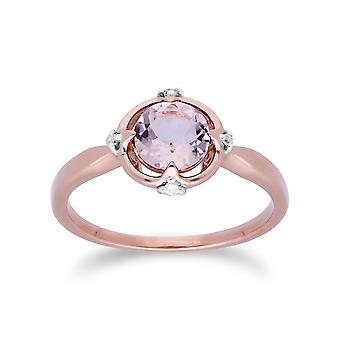 Gemondo 9ct Rose Gold Halo Morganite & Diamond ronde geslepen Ring