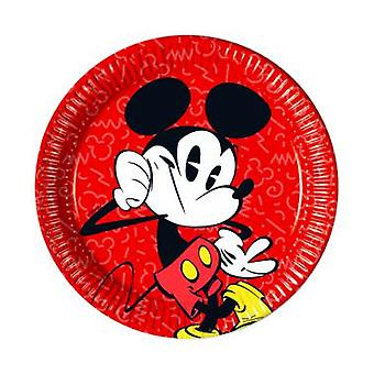 Mickey super cool Micky Maus party plates Ø 23 cm birthday 8 pieces