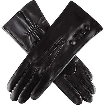 Dents Natalie Silk Lined Hairsheep Leather Touch Screen Gloves - Black