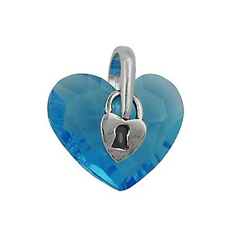 Pendant, heart with lock, Silver 925
