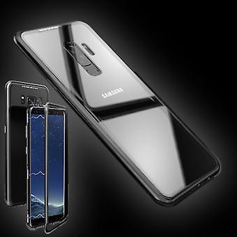 For Samsung Galaxy S9 G960F magnet / metall / glass tilfelle støtfanger sort / gjennomsiktig coveret nye