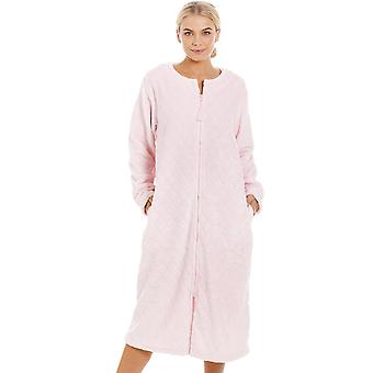f63640b560 Camille Womens Supersoft Light Pink Zip Up Diamond Print Housecoat
