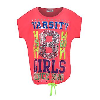 Children's Neon Pink Varsity Top Girls Sequin 1980 Casual Party T-Shirt
