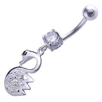 Belly Bar Navel Piercing 925 Sterling Silver, Body Jewellery, Swan