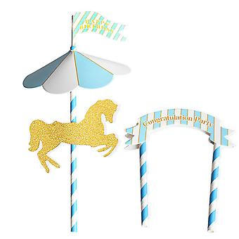TRIXES Carousel Horse Happy Birthday Decorative Cake Topper Blue and White with Banner and Flag