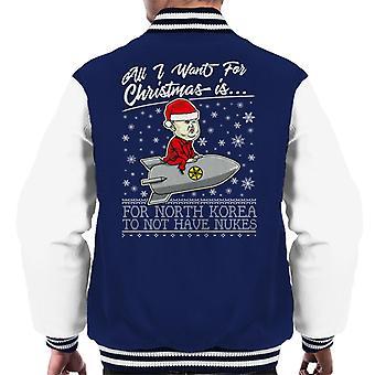 Tutto quello che voglio per Natale è Corea non avere Varsity Jacket armi nucleari maschile