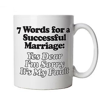 7 ord for en vellykket ægteskab sjove krus | Humor latter sarkasme vittigheder messing komedie | Ideal top far mor dag kone mand mor far | Joke gave Cup