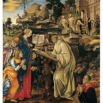 Видение Святой Бернард, Филиппино Липпи, 50x50cm