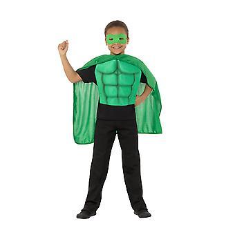 Kids Superhero Kit Green, Eyemask EVA & Cape,Boys Fancy Dress Age 8-12