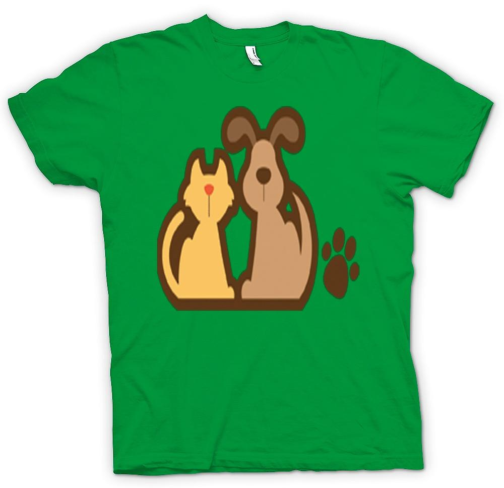 Heren T-shirt-katten- en hondenbont Cartoon tekenen