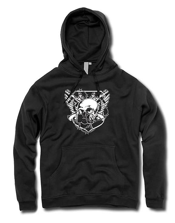 Mens Hoodie - Skull With Gas Mask & Crossed Guns Design