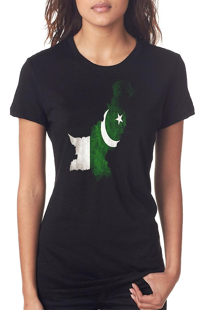 Pakistan Flag Map Ladies T Shirt