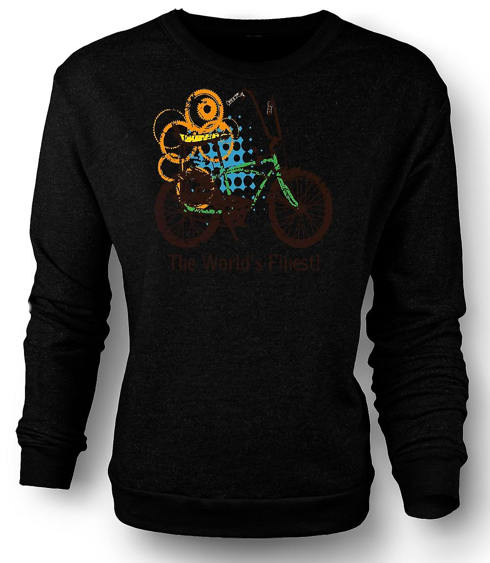 Mens Sweatshirt Chopper Bike - World's Finest - Funny Graphic Design