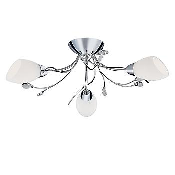 Searchlight 1763-3CC Gardenia Chrome Flush 3 Light Ceiling Light