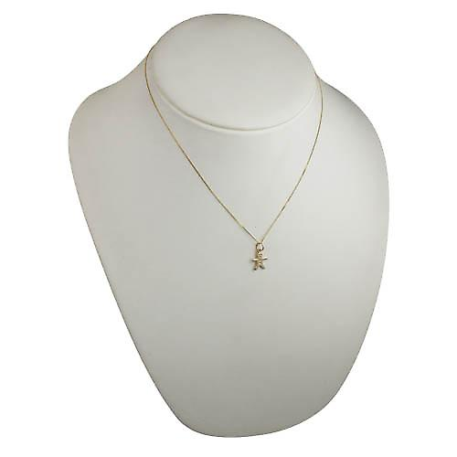 9ct Gold 11x12mm Gingerbread man Pendant with a curb chain