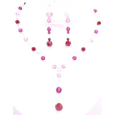 Glimmering Party Jewelry Gorgeous Look In Fuchsia Rose & Siam Crystals