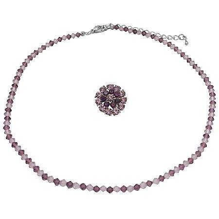 Necklace w/ Matching Brooch Bridesmaid Lite & Dark Amethyst Necklace