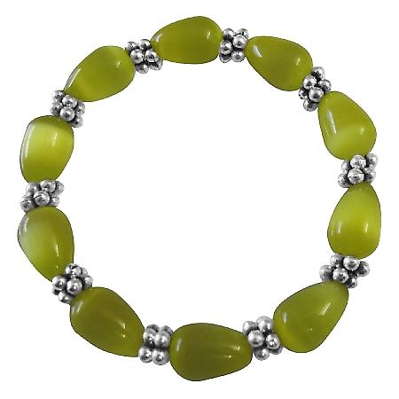 Stretchable Bracelet Yellow Cat Eye Beaded Bracelet w/ Daisy Spacing