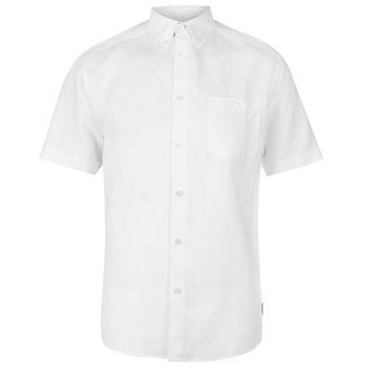Pierre Cardin Mens linne Kortärmad skjorta krage hals knappen topp