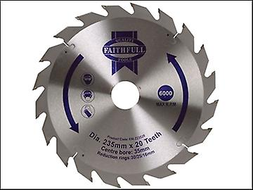 Faithfull Circular Saw Blade TCT 235 x 16/20/30/35mm x 20T Fast Rip