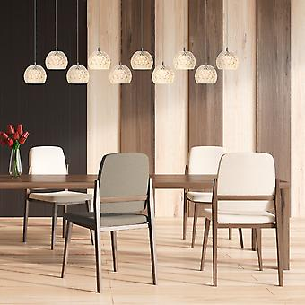 Industrial 10 Pendant Ceiling Light Fixture Dining Table Nickel Rectangular Canopy