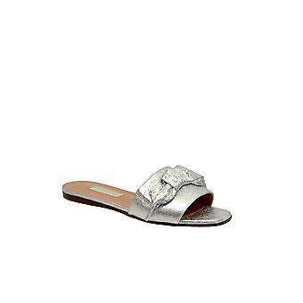 L'autre Chose Silver Leather Sandals