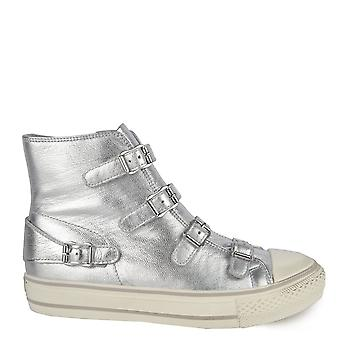 Ash VIRGIN Buckle Trainers Silver Leather